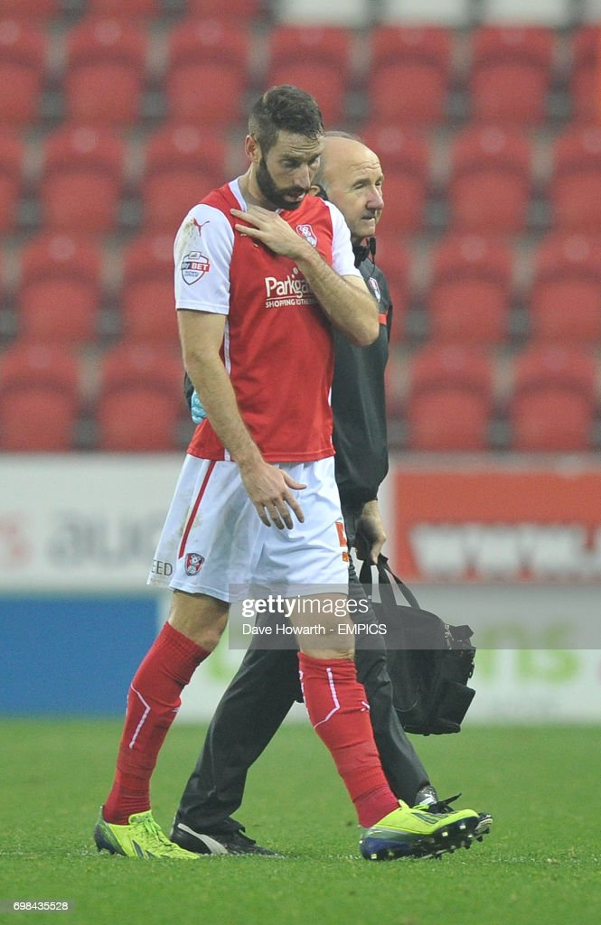 Rotherham United's Kirk Broadfoot is taken off with an injured collar bone