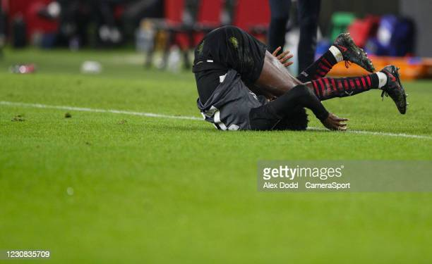 Rotherham United's Matthew Olosunde lands in a heap during the Sky Bet Championship match between Middlesbrough and Rotherham United at Riverside...