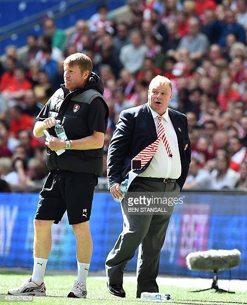 Rotherham United's Scottish manager Steve Evans stands on the sidelines during the English League 1 PlayOff final football match between Leyton...