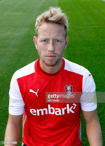 Rotherham's Adam Thompson poses during the Rotherham Football Club 2020/21 photocall on September 03,2020 in Rotherham,England.