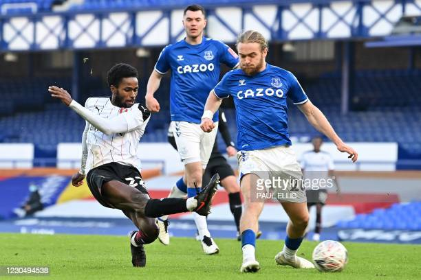 Rotherham's US midfielder Matthew Olosunde scores their first goal to equalise 1-1 during the English FA Cup third round football match between...