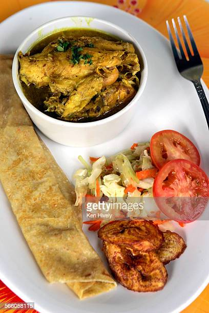 Roti chicken with curry at Kassava Caribbean Cafe on West 3rd in Los Angeles