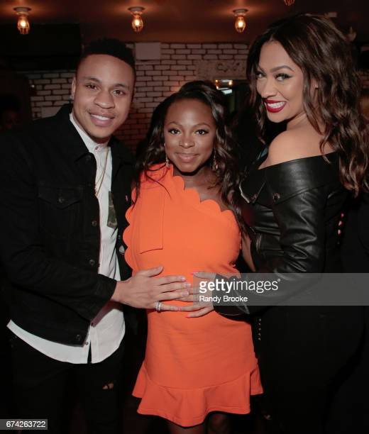 Rotimi Akinosho Naturi Naughton and La La Anthony pose during The STARZ Network Power Cocktail Media Event at Catch NYC on April 27 2017 in New York...