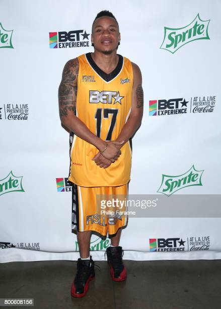 Rotimi poses backstage at the Celebrity Basketball Game presented by Sprite and State Farm during the 2017 BET Experience at Staples Center on June...
