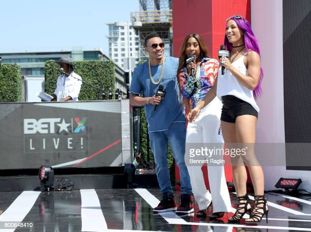 Rotimi Sevyn Streeter and Sasha Banks speak onstage during night three of BETX Live sponsored by CocaCola during the 2017 BET Experience at LA Live...