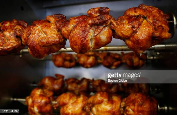 Rotisserie chickens cook inside Boston Market in Medford MA on Feb 13 2018 The Boston Globe lined up 10 chickens from area chains to find the...