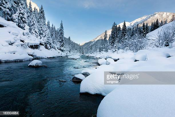 rotlech river in tirol - austria winterscene with snow