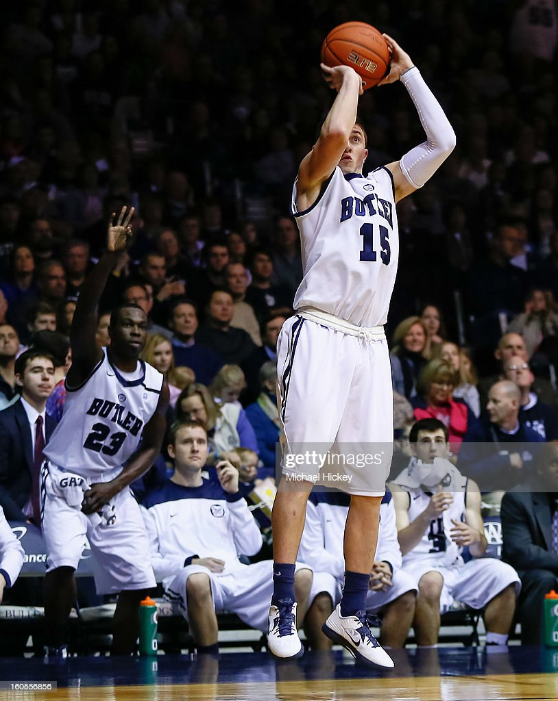 Rotnei Clarke #15 of the Butler Bulldogs shoots a three pointer against the Rhode Island Rams at Hinkle Fieldhouse on February 2, 2013 in Indianapolis, Indiana. Butler defeated Rhode Island 75-68.