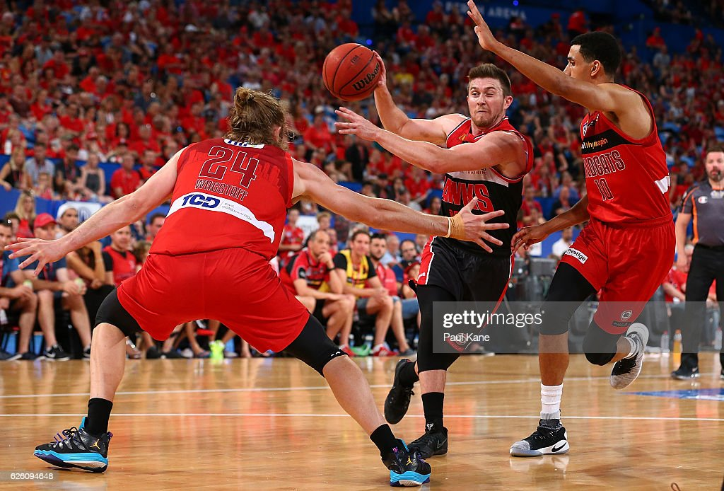 Rotnei Clarke of the Hawks dishes off the ball during the round eight NBL match between the Perth Wildcats and the Illawarra Hawks at the Perth Arena on November 27, 2016 in Perth, Australia.