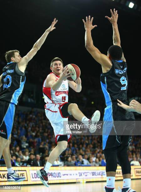 Rotnei Clarke of the Hawks lays up the ball during the round one NBL match between the New Zealand Breakers and the Wollongong Hawks at Vector Arena...