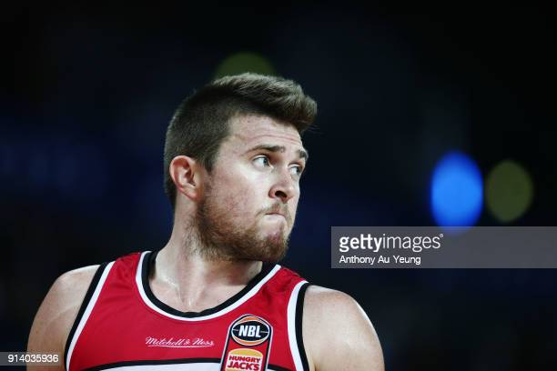 Rotnei Clarke of the Hawks reacts during the round 17 NBL match between the New Zealand Breakers and the Illawarra Hawks at Spark Arena on February 4...