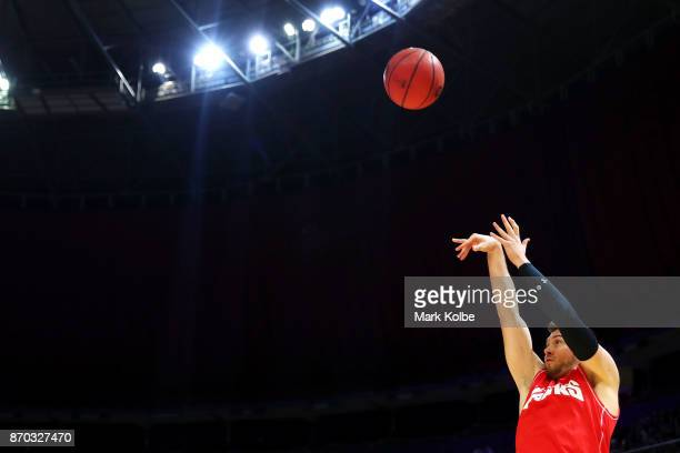 Rotnei Clarke of the Hawks shoots during the warmup before the round five NBL match between the Sydney Kings and the Illawarra Hawks at Qudos Bank...