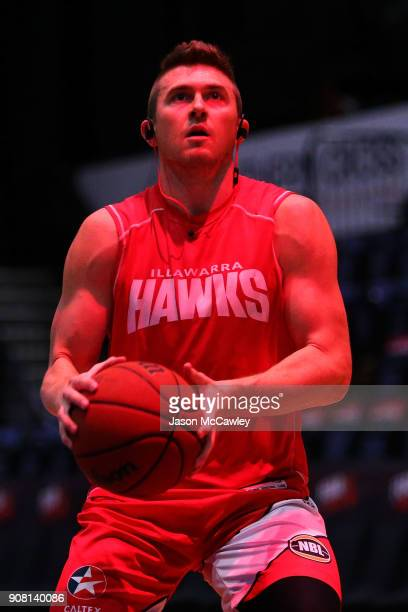 Rotnei Clarke of the Hawks warms up prior to the round 15 NBL match between the Illawarra Hawks and Adelaide United at Wollongong Entertainment...