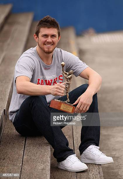 Rotnei Clarke of the Wollongong Hawks poses for photos after having won the MVP award during an NBL announcement at Central Pier, Docklands on April...