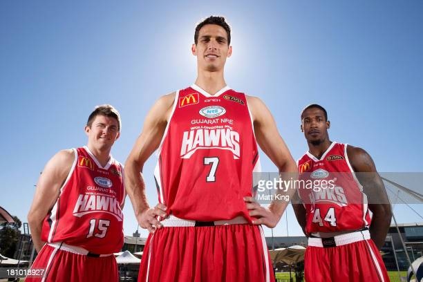 Rotnei Clarke, Oscar Forman and Durrell Summers of the Wollongong Hawks pose during the 2013/14 NBL Media Season Launch at The Entertainment Quarter...