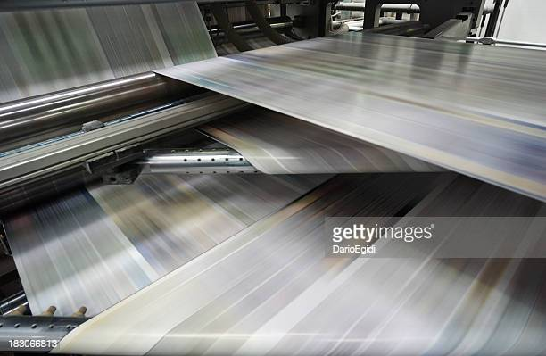 Roto-offset color printing machine while it's running, detail