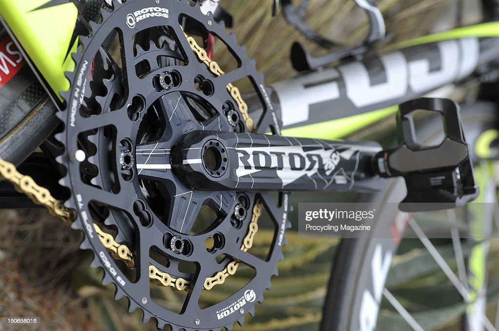 Empírico laberinto Playa  Rotor 3D crank set on a Geox-TMC Fuji Altamira team road racing bike,...  News Photo - Getty Images