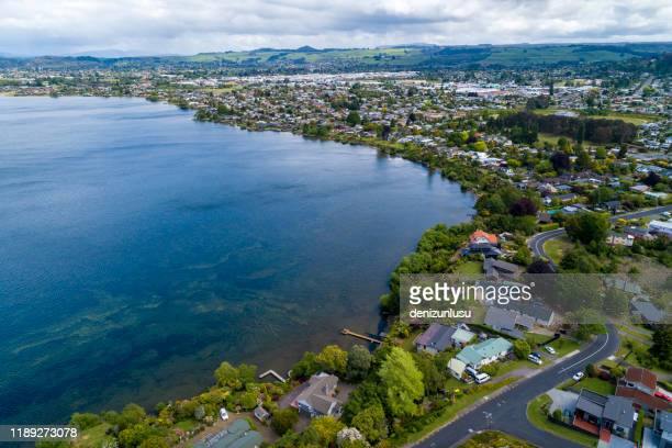rotorua aerial view - rotorua stock pictures, royalty-free photos & images