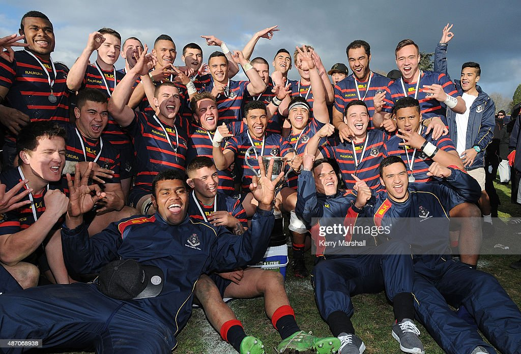 Rotorua Boy's High School celebrate with the Barbarians Cup following their win in the National 1st XV Championship Final match between Rotorua Boys' High School vs Scots College on September 6, 2015 in Rotorua, New Zealand.