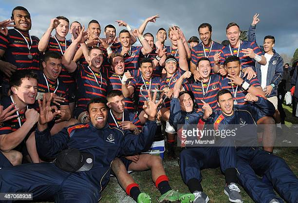 Rotorua Boy's High School celebrate with the Barbarians Cup following their win in the National 1st XV Championship Final match between Rotorua Boys'...