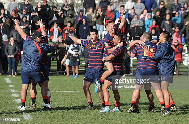 Rotorua Boy's High School players celebrate as they win the National 1st XV Championship Final match between Rotorua Boys' High School vs Scots...