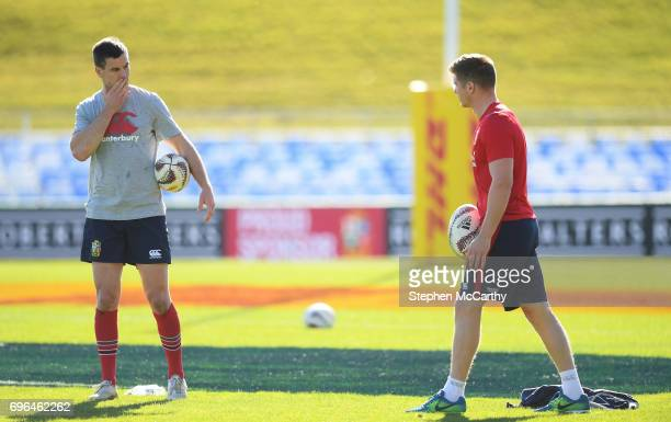 Rotorua New Zealand 16 June 2017 Jonathan Sexton left and Owen Farrell during the British and Irish Lions captain's run at Rotorua International...