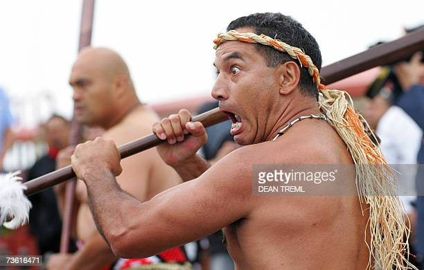 Maori warriors including actor Temuera Morrison perform a powhiri for Prince Andrew The Duke of York during a ceremony to honour the galantry of...