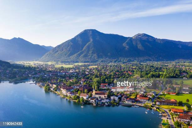 rottach-egern by lake tegernsee against sky, upper bavaria, bavaria, germany - tegernsee stock pictures, royalty-free photos & images