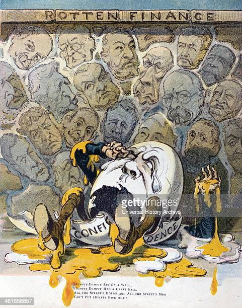 Rotten finance by Udo Keppler 18721956 artist Date 1907 Illustration shows a stonewall labelled Rotten Finance constructed with stones showing the...