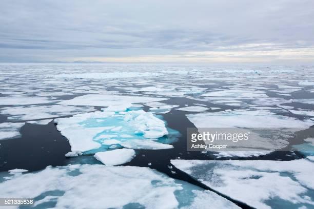 rotten sea ice at over 80 degrees north off the north coast of svalbard - 北極点 ストックフォトと画像