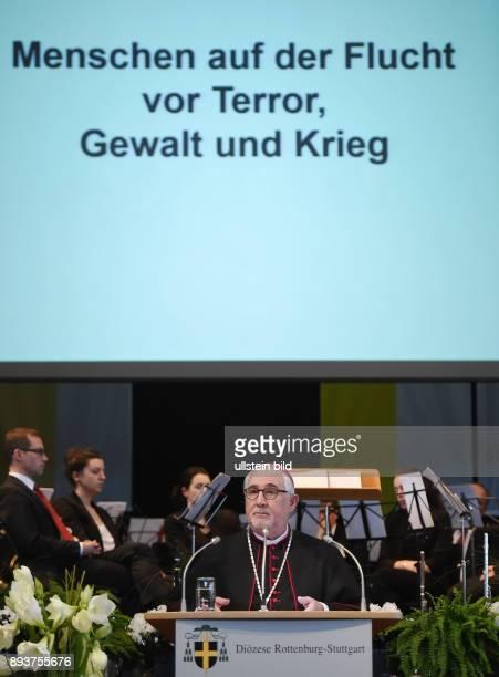 Rottenburg Bischof Dr Gebhard Fuerst bei seiner Ansprache beim Neujahrsempfang in der Rottenburger Festhalle