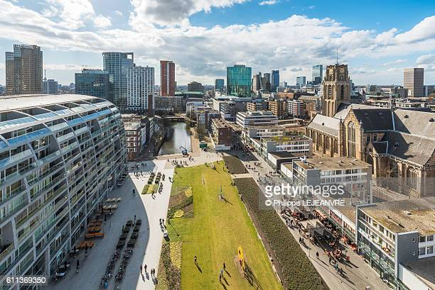 rotterdam aerial view - rotterdam stock pictures, royalty-free photos & images