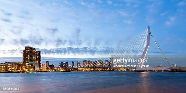 Rotterdam City Skyline At Dusk