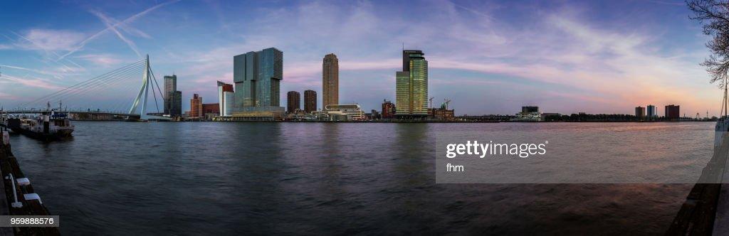 rotterdam skyline panorama with erasmusbridge at sunset stock photo