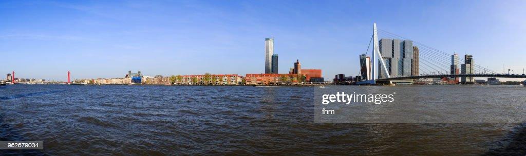 rotterdam skyline panorama with erasmusbridge stock photo - getty images