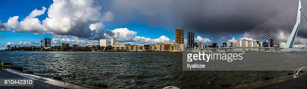 rotterdam skyline panoramic view - meuse river stock photos and pictures