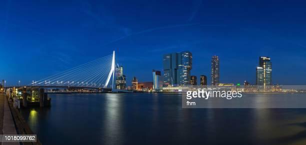 Rotterdam skyline with Erasmusbridge at blue hour (Southholland, Netherlands)