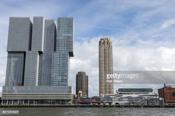 rotterdam waterfront cityscape - meuse river stock photos and pictures