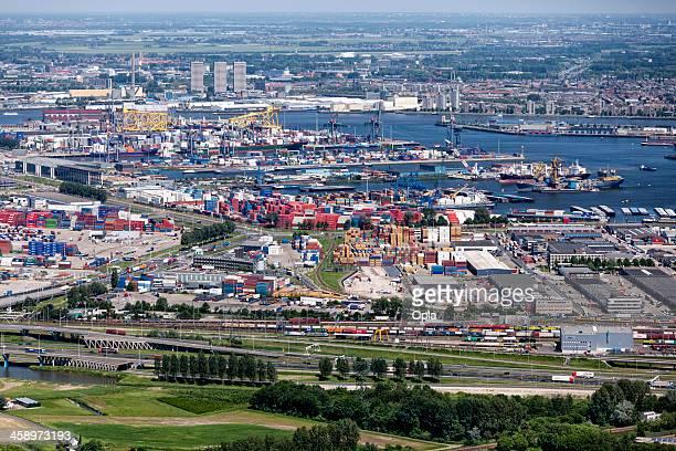 rotterdam with waalhaven aerial - rotterdam stockfoto's en -beelden