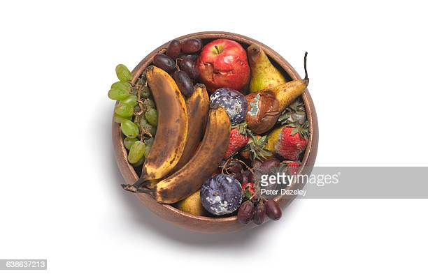 rotting fruit in bowl