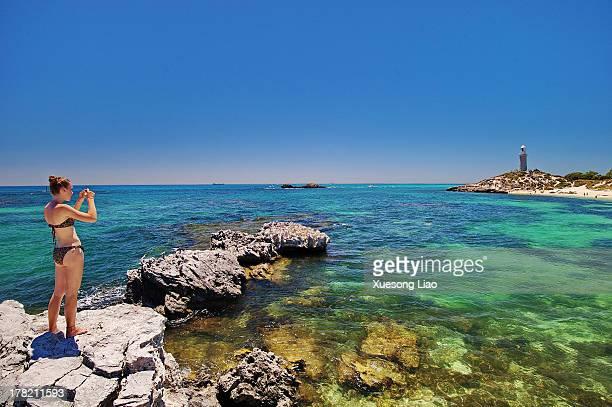 CONTENT] Rottnest IslandPerth Western Australia Lighthousecoastaquaturquoisegirl taking photo