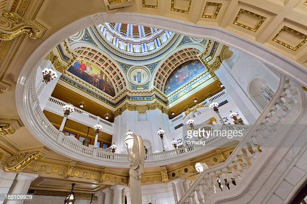 rotunda and balcony inside the pennsylvania state capitol - harrisburg pennsylvania stock pictures, royalty-free photos & images