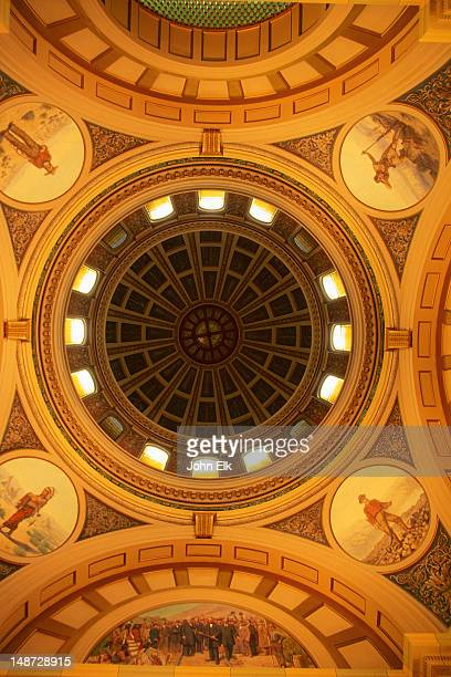 rotunda and dome of montana state capitol. - rotunda stock pictures, royalty-free photos & images
