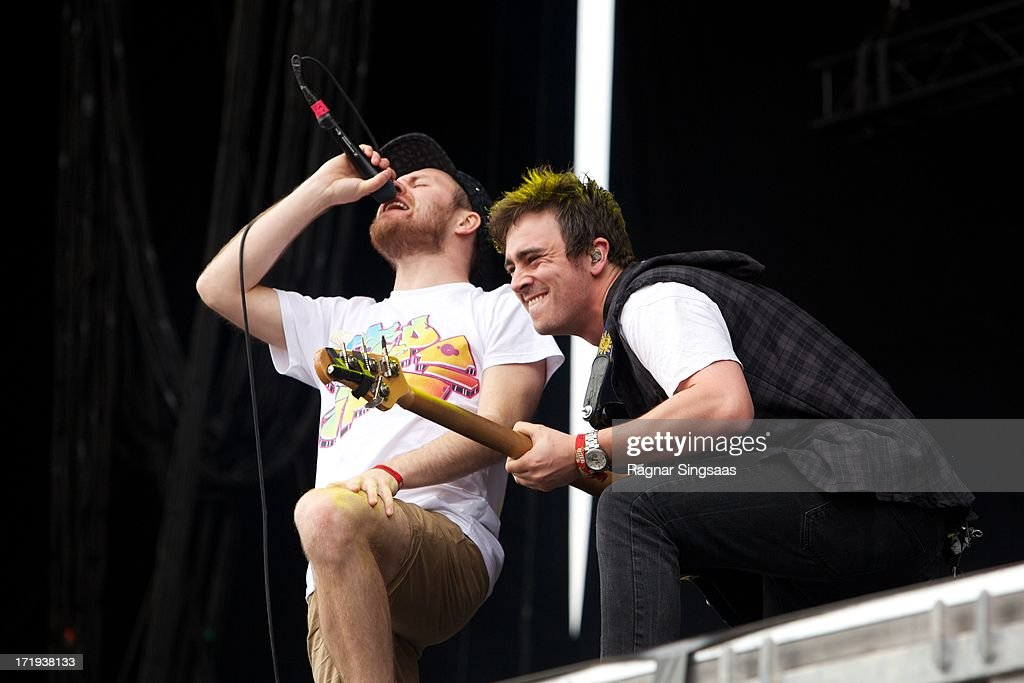 Rou Reynolds and Chris Batten of Enter Shikari perform on stage on Day 4 of Rock The Beach Festival on June 29, 2013 in Helsinki, Finland.