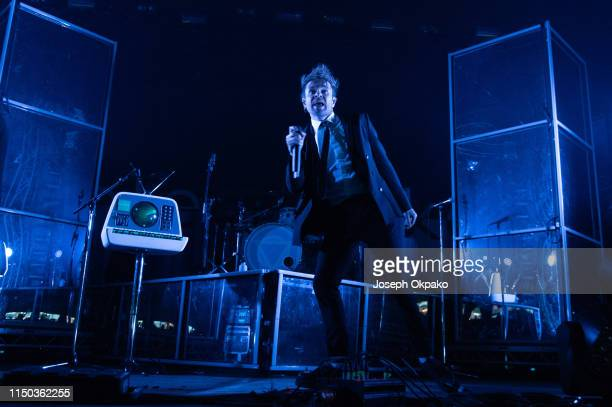 Rou Reynolds of Enter Shikari performs on stage during day 3 of Download festival 2019 at Donington Park on June 16 2019 in Castle Donington England