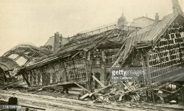 Roubaix Station, blown up by the Germans during their retreat in October, 1918', . Railway station in northern France, destroyed by defeated German...