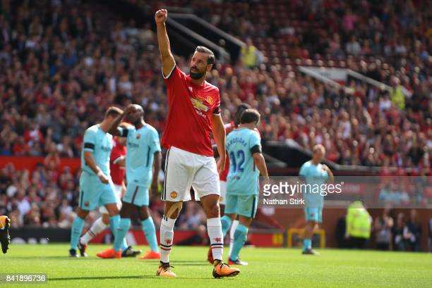 Roud Van Nistelrooy of Manchester United celebrates after scoring the first goal during the match between Manchester United Legends and FC Barcelona...