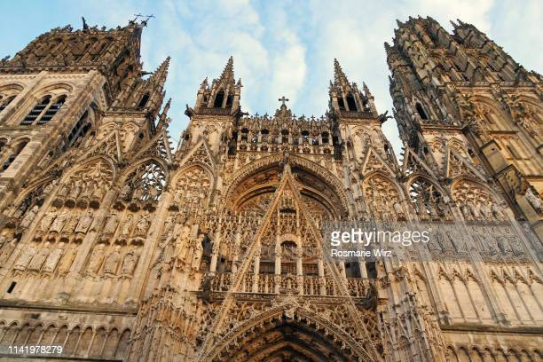 rouen cathedral gothic facade with two spires - rouen stock pictures, royalty-free photos & images