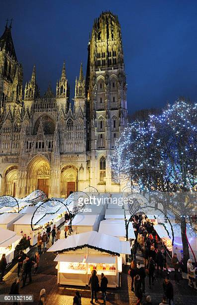 Christmas market in the square 'place de la Cathedrale' within the framework of the event called 'Rouen Givree'