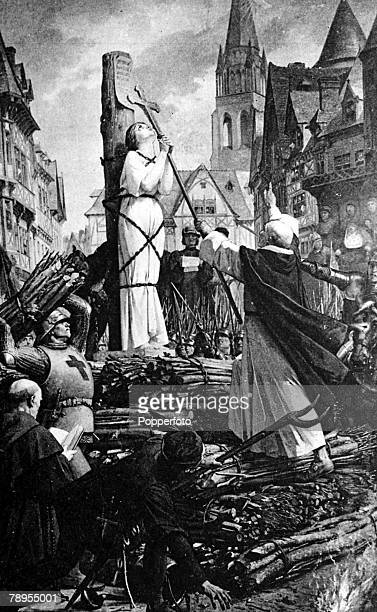 Rouen France 24th May 1431 French patriot and martyr Joan of Arc is tied to stake in the market place of Rouen to be burnt after being found guilty...